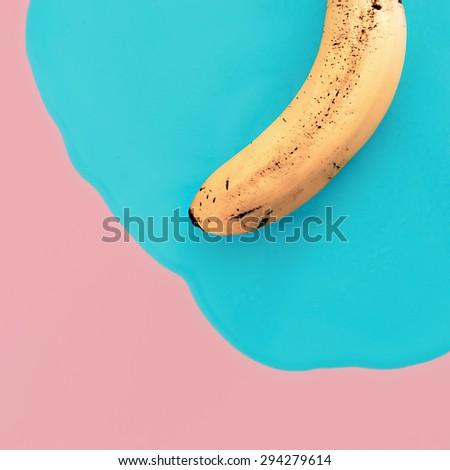 Vanilla minimal style. Exclusive Banana. Fashion photos - stock photo