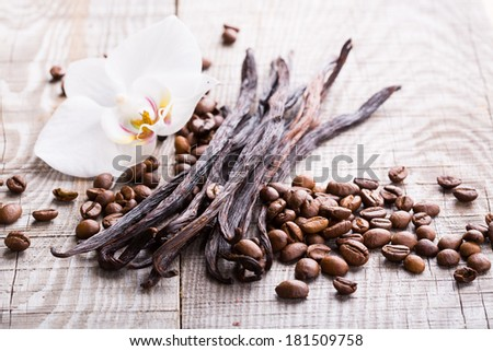 vanilla pods and coffee beans on wooden background - stock photo