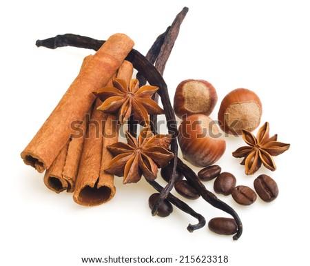 Vanilla pods, cinnamon and anise, hazelnut - stock photo