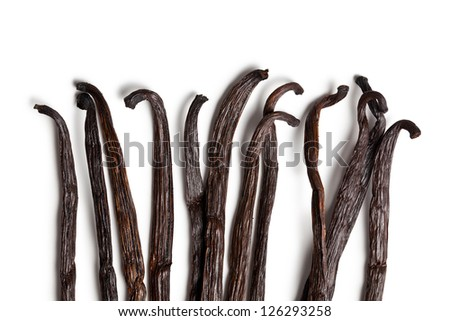 vanilla pods on white background - stock photo