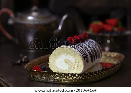 Vanilla Roll with Cream Cheese - stock photo