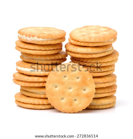 vanilla sandwich cookies on white background