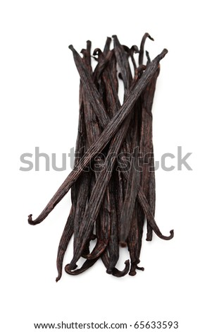 vanilla sticks with beauty orchid flower -  herbs and spices - stock photo