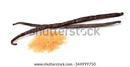Vanilla sticks with vanilla sugar on white backgrounds. - stock photo