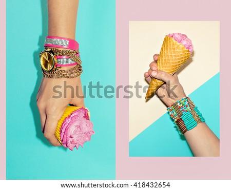 Vanilla Sweet Summer. Fashion Accessories. Stylish Bracelets and Watches. - stock photo