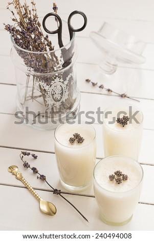 Vanilla Yogurt Panna Cotta with Dried Lavender Flowers - stock photo