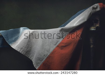 Vanitas of the french Flag with Skull - stock photo