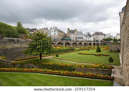 Vannes, France - August 13: View of the Hermine Castle on a cloudy day in Vannes, France on August 13, 2014.