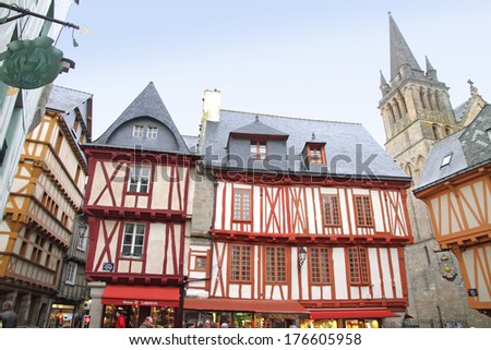 VANNES FRANCE: timbered houses old town on March 17, 2012 in Brittany, France. Is a medieval town situated on a north side of golf of Morbihan, in region Brittany, in France.