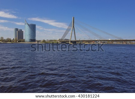 Vansu bridge across river Daugava in Riga, Latvia - stock photo