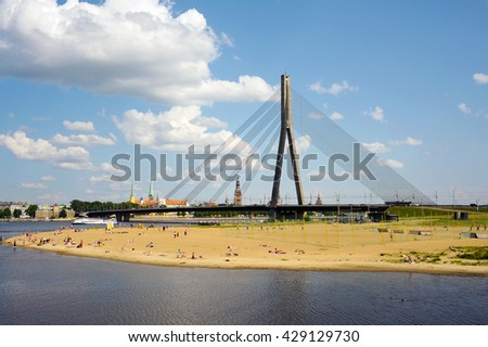 Vansu bridge and Dauguva river in Riga, Latvia. East Europe. - stock photo