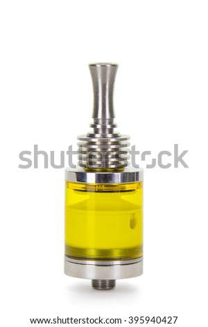 Vaping parts. Stainless steel clearomizer with yellow transparent tank.  Isolated over white background.