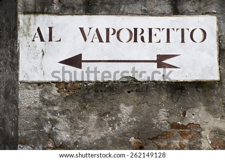 Vaporetto is a transport to cross the Grand Canal in the Italian city of Venice - stock photo