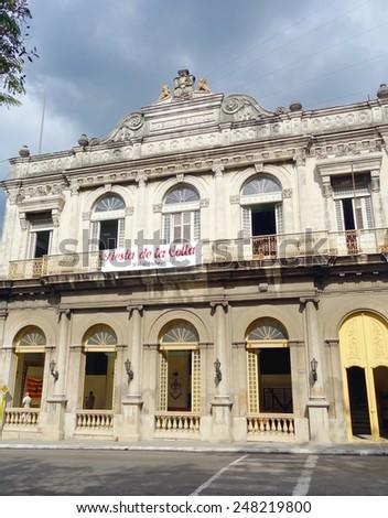 VARADERO, CUBA - DECEMBER 14, 2014: The Casino Espanol building in downtown Matanzas, Cuba. - stock photo