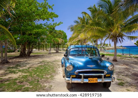 VARADERO, CUBA - MAY, 22, 2013: Blue american classic car on the beach - stock photo