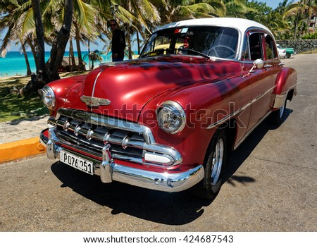VARADERO, CUBA May 13, 2016: Classic Old American cars are used for transportation and tourism services in Cuba due to embargo