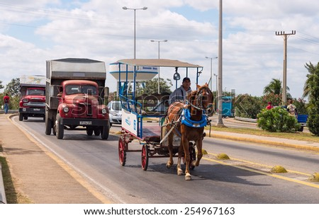 VARADERO - FEB 14: Busy traffic on the highway to west Varadero in Cuba on February 14, 2015
