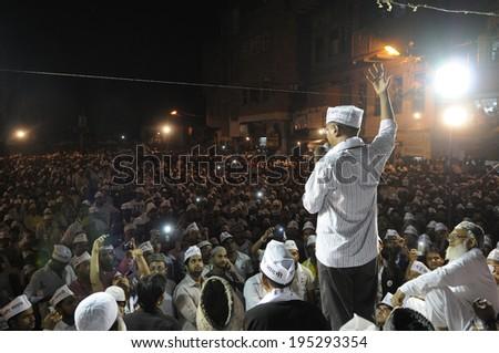 VARANASI - APRIL  27 : Arvind kejriwal addressing  a muslim population on April  27 , 2014 in Varanasi , India. - stock photo