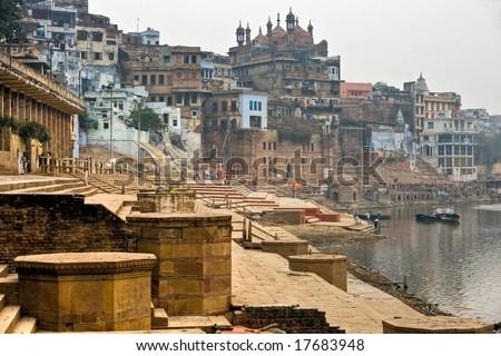Varanasi (Benares) in a foggy day. Uttar Pradesh, India. - stock photo