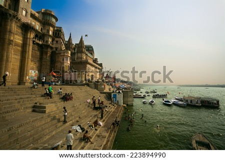 VARANASI, INDIA - CIRCA MAY 2014: view of Ganges river with the boats and holy ghats. Varanasi is one of the oldest continuously inhabited cities in the world and the oldest in India.  - stock photo