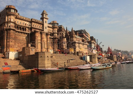 VARANASI, INDIA- MAR 12:Unidentified people do boating in the river Ganges on March 12, 2016 in Varanasi, Uttar Pradesh, India. Varanasi is the most popular pilgrim place in India.