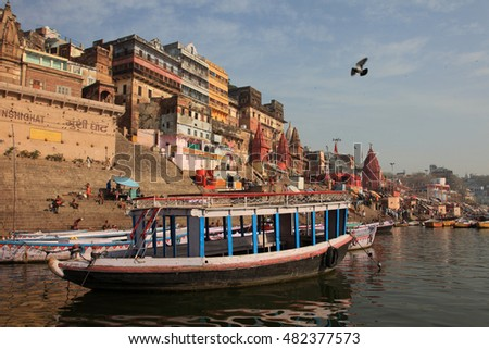 VARANASI, INDIA- MAR 12:Unidentified people take bath in the holy river Ganges on March 12, 2016 in Varanasi, Uttar Pradesh, India. Varanasi is the most popular pilgrim place in India.