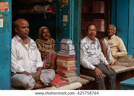 Varanasi,India-March 15,2017 : Unidentified people in bookstore.They sell books and notebooks for students.