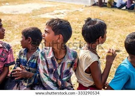 Varanasi ,India . 21- October -2015. A group of young children , waiting the tourist to give them money. - stock photo
