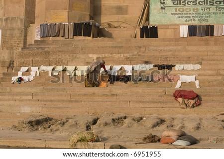 Varanasi laundry - stock photo