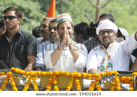 VARANASI - MAY 10: Rahul Gandhi  greeting the voters during a road show  to support local Congress candidate Mr. Ajay Rai on May 10, 2014 in Varanasi , India. - stock photo