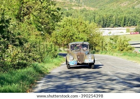 VARANO (PR), ITALY - SEPTEMBER 18: A brown Fiat 6C 1500 takes part to the GP Nuvolari classic car race on September 18, 2015 near Varano (PR). The car was built in 1935. - stock photo
