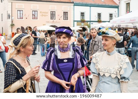 VARAZDIN, CROATIA - SEPTEMBER 2, 2007: Costumed entertainers on streets of Varazdin during Spancirfest festival, held every year since 1999 that lasts for 10 days, hosting over 100,000 tourists.