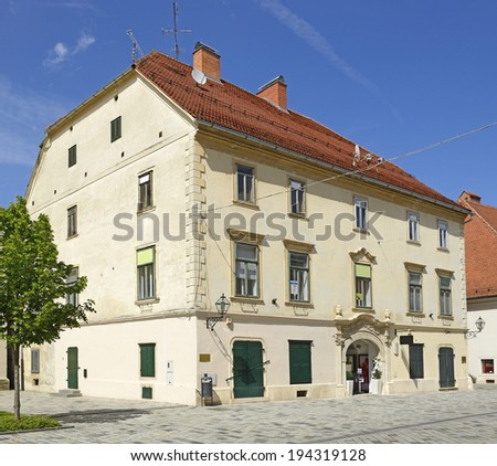 Varazdin, Patacic-Buzan Palace - monumental Baroque corner building from the 17th century. Varazdin submitted on the tentative list of World Heritage Sites UNESCO, Croatia