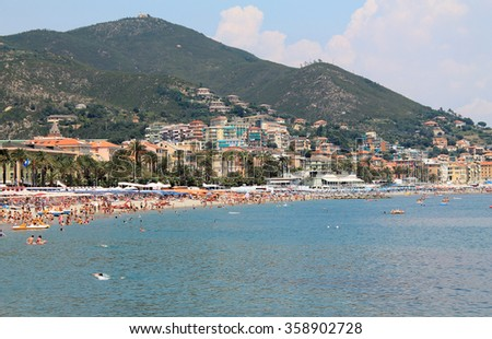 Varazze beach italy mountain and beach with people