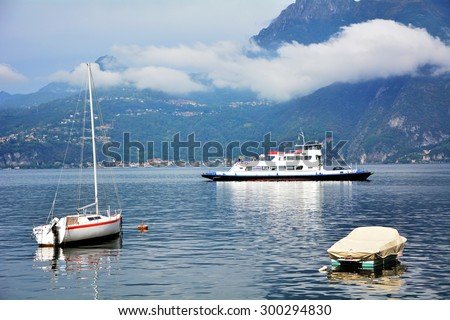 Varenna lake town Italy architecture and boats landscape - stock photo