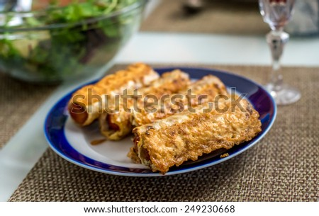 Variable focus of Matzo pancakes for Passover holiday. - stock photo