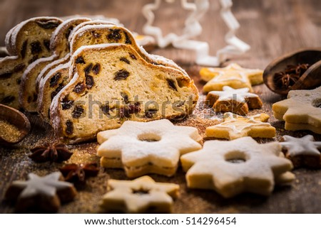 Variation of Christmas stollen with cookies