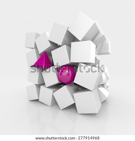 Variation of Cubes. Abstract background - stock photo