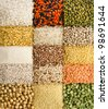 Variation of dry lentils, beans, peas, grain , groats,soybeans, legumes, surface  close up macro top view  backdrop - stock photo