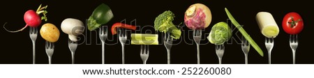 Variation of fresh vegetables on a black background,  - stock photo