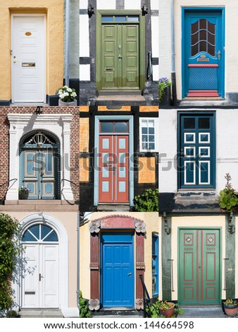 Variation of nine different old front doors all over Denmark. File size over 23MP, ready for your design. - stock photo