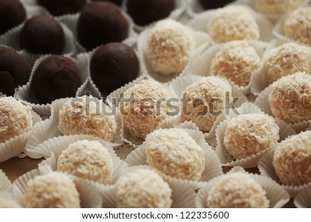 variations of chocolated sweet pralines close up - stock photo