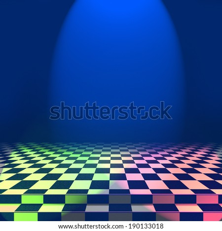 Varicolored lights fall on the checkerboard floor