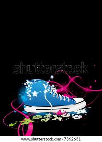 varicolored vector background with sneakers, gym-shoes - stock photo