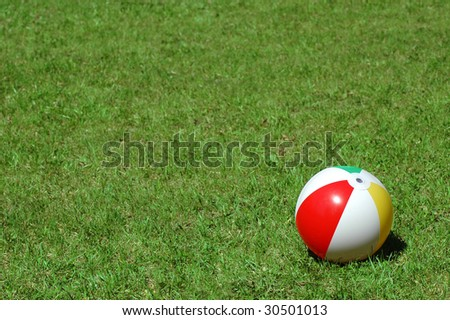 Varicoloured ball on herb - stock photo