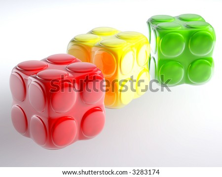 varicoloured child's blocks for games in outdoor on a white background - stock photo