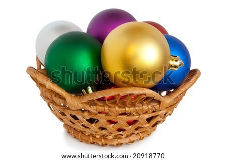 Varicoloured christmas balls on white background - stock photo