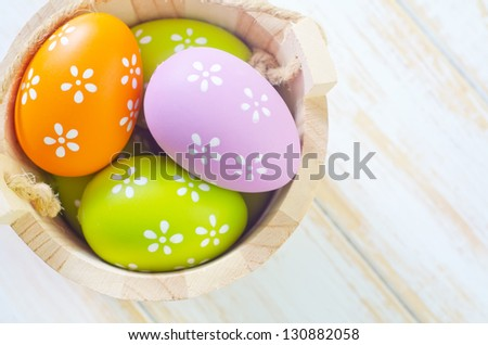 varied colorful eggs - stock photo