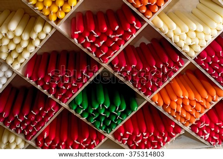 Varied Multicolor Candles In A Interior Decorating Store