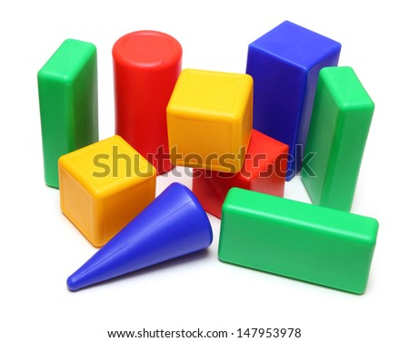 variegated color blocks - meccano toy isolated  - stock photo